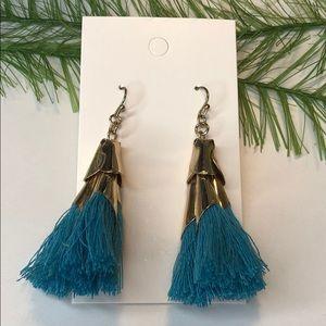 🍭 Blue/gold tone tassel earrings, boho jewelry